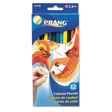 Prang Colored Wood Pencil Set, 3.3 mm, Assorted Colors - 12 Pencils