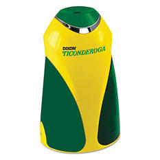 "Ticonderoga - Personal Electric Pencil Sharpener, 3 1/4""w x 2 7/8""d x 7 1/4""h -  Yellow/Green"