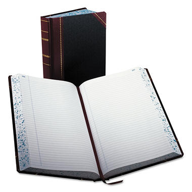 Boorum & Pease - Record/Account Book, Record Rule, Black/Red, 500 Pages - 14 1/8