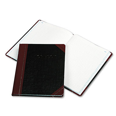 "Boorum & Pease - Log Book, Record Rule, Black/Red Cover, 150 Pages - 10 3/8"" x 8 1/8"""