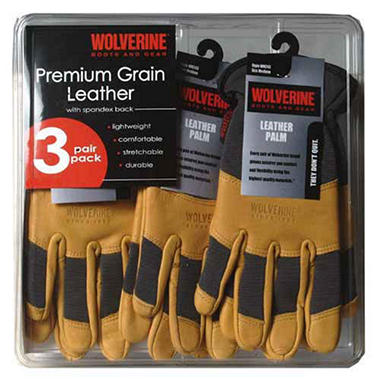 3pk Wolverine Leather Work Gloves-Medium