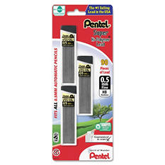 Pentel - Super Hi-Polymer Lead Refills, 0.5mm, HB, Black -  90 Leads/Pack