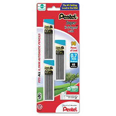 Pentel - Super Hi-Polymer Lead Refills, 0.7mm, HB, Black -  90 Leads/Pack