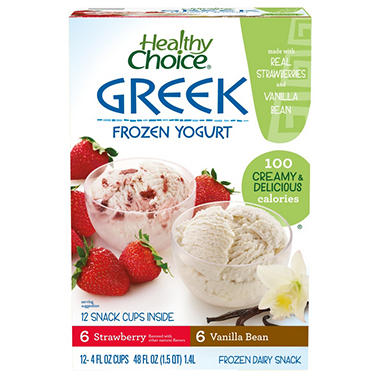 Healthy Choice Frozen Greek Yogurt - 4 oz. cups - 12 ct.