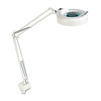 "Ledu - Clamp-On Fluorescent Swing Arm Magnifier Lamp, 5"" Lens, 42"" Reach - White"