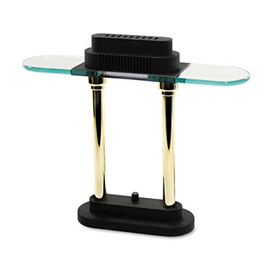 "Ledu - Halogen Desk Lamp, Black/Brass Base, Glass Shade - 15"" High"