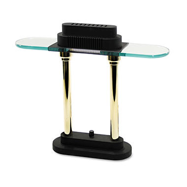 Ledu - Halogen Desk Lamp, Black/Brass Base, Glass Shade - 15