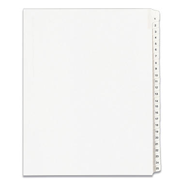Avery Side Tab Legal Index Dividers, Select Type