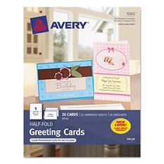 Avery 3265 - Greeting Cards, Inkjet, White - 20 Cards