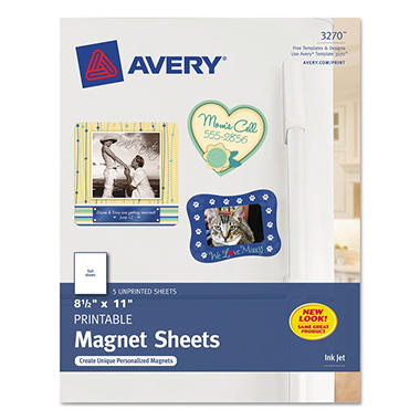 Avery 3270 - Magnetic Sheets, Inkjet, White - 5 Sheets