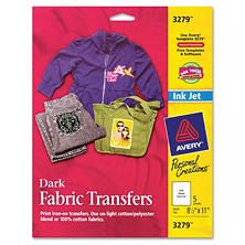 Avery 3279 - T-Shirt Transfers, Inkjet, Dark Fabric - 5 Sheets