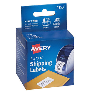 Avery - Shipping Labels, 2-1/8 x 4, White, 140/Roll -  1 Roll/Box