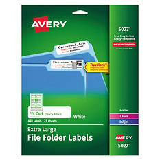 Avery 5027 Extra Large 1/3 Cut TrueBlock File Folder Labels, Laser or Inkjet, 15/16 x 3 7/16, White, 450 Labels