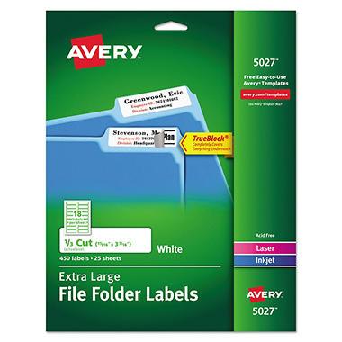 Avery 5027 Extra Large 1/3 Cut TrueBlock File Folder Labels, Laser or Inkjet, 15/16 x 3 7/16, White, 450 Labels