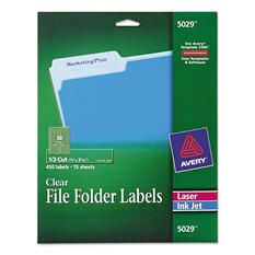 Avery 1/3 Tab Self-Adhesive File Labels, Clear (450 ct.)