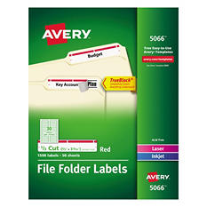 Avery File Folder Labels, Laser or Inkjet, 1,500ct., Select Colors