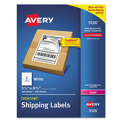 Avery 5126 Laser Shipping Labels, Half Sheet, White - 200 Labels
