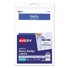 "Avery 5141 or 5140 - Print or Write ""Hello"" Name Badges, Blue or Red - 100 Labels"