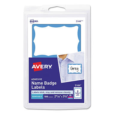 Avery - Self-Adhesive Print or Write Name Badges - 100 Badges
