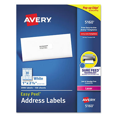 "Avery 5160 Laser Address Labels, - 1 x 2-5/8"" - White - 3,000 ct."