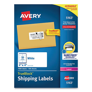 "Avery 5163 Laser Shipping Labels, 2 x 4"", White - 1,000 Labels"