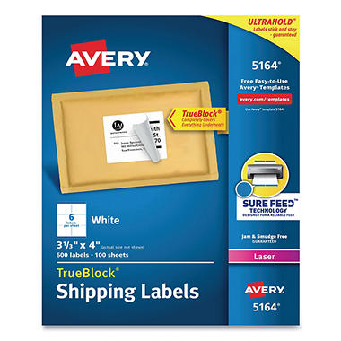 "Avery 5164 - Laser Shipping Labels, 3-1/3 x 4"", White - 600 Labels"