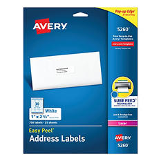 Avery Easy Peel Address Labels, Laser, 1 x 2-5/8, White, Select Quantity