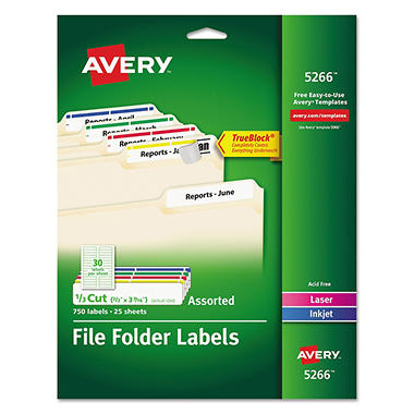 Avery - File Folder Labels, Laser or Inkjet, Various Colors - 750 Labels