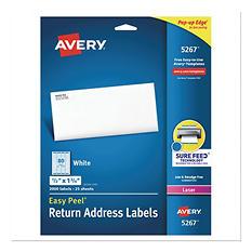 Avery Easy Peel Laser Address Labels, 1/2 x 1-3/4, White, 2000 per Pack