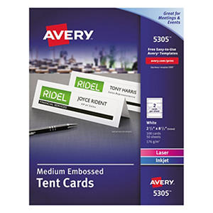 Avery - 5305 - Tent Cards, Inkjet/Laser, Medium - 100 Cards