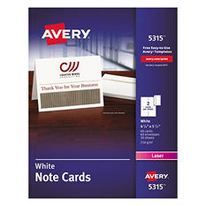 Avery - 5315 - Note Cards, Laser, White - 60 Cards