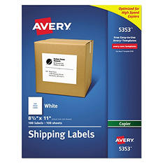 "Avery 5353 - Copier Full Sheet Labels, 8-1/2 x 11"", White - 100 Labels"