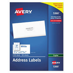 Avery Self-Adhesive Address Labels for Copiers, 1-1/2 x 2-13/16, White, 2100 per Box
