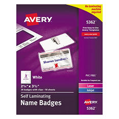 Avery Laminated Laser/Inkjet Name Badges