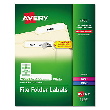Avery 1/3 Tab File Folder Lables, White, 1,500