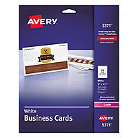 Avery 5371 - Perforated Business Cards, Laser, White - 250 Cards