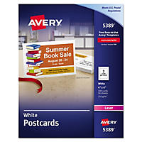 "Avery 5389 - Postcards, Laser, 4 x 6"", Matte - 100 Cards"