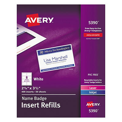 Avery Laser/Inkjet Name Badge Refills
