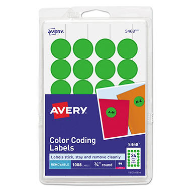 "Avery - Print or Write Color Coding Labels, 3/4"", Various Colors - 1,008 Labels"