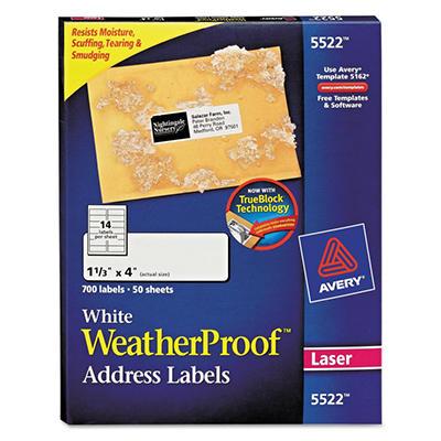 "Avery 5522 - Laser WeatherProof Address Labels, 1-1/3 x 4"", White - 700 Labels"