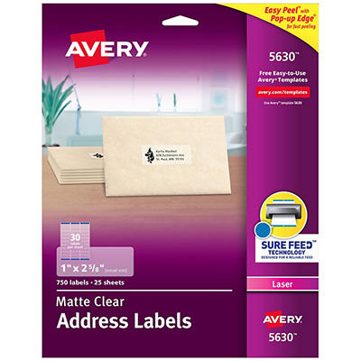 Avery Easy Peel Laser Mailing Labels, 1 x 2-5/8, Clear, 750 per Box