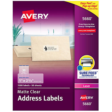"Avery 5660 - Laser Address Labels, 1 x 2-5/8"", Clear - 1,500 Labels"