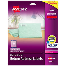 "Avery 5667 - Laser Return Address Labels, 1/2 x 1-3/4"", Clear - 2,000 Labels"
