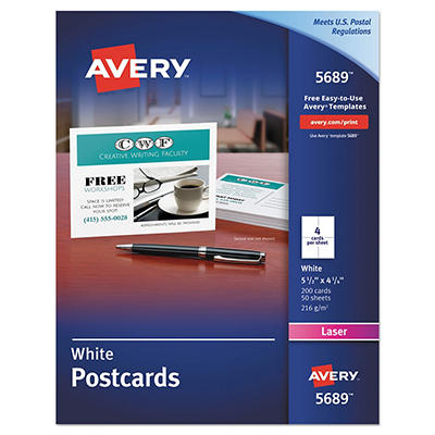 Avery - Postcards for Laser Printers, 4-1/4 x 5-1/2, White, 4/Sheet -  200/Box
