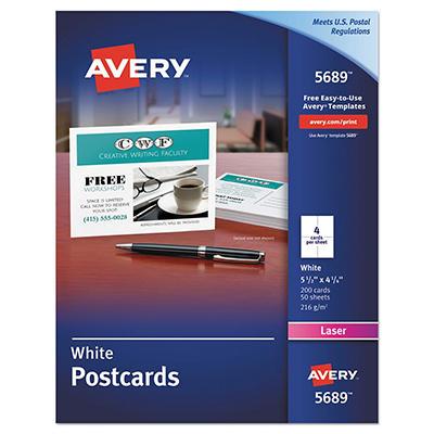 Avery - Postcards for Laser Printers, 4-1/4 x 5-1/2, White, 4/Sheet -  200/Box