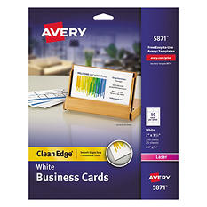 Avery 5871 or 5876 - Clean Edge Business Cards, Laser, White or Ivory - 200 Cards