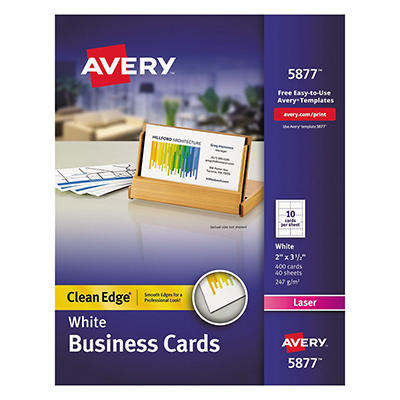 Avery 5877 - Clean Edge Business Cards, Laser, White - 400 Cards