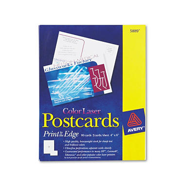 "Avery 5889 - Postcards, Color Laser, 4 x 6"", Matte - 80 Cards"