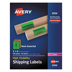 "Avery High-Visibility Shipping Label, Laser, 2"" x 4"", Assorted Neon Colors, 500 ct."