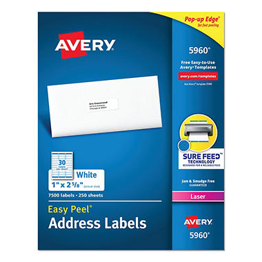 Avery® Easy Peel Address Labels, Laser, 1 x 2-5/8, White, 7,500ct.